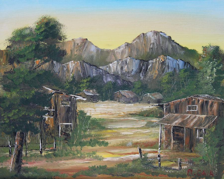 Nipa Hut Painting - Forgotten Village by Remegio Onia