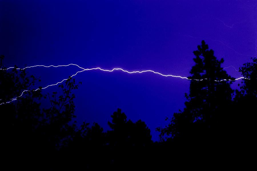Night Photograph - Forked Lightning by Alfredo Martinez