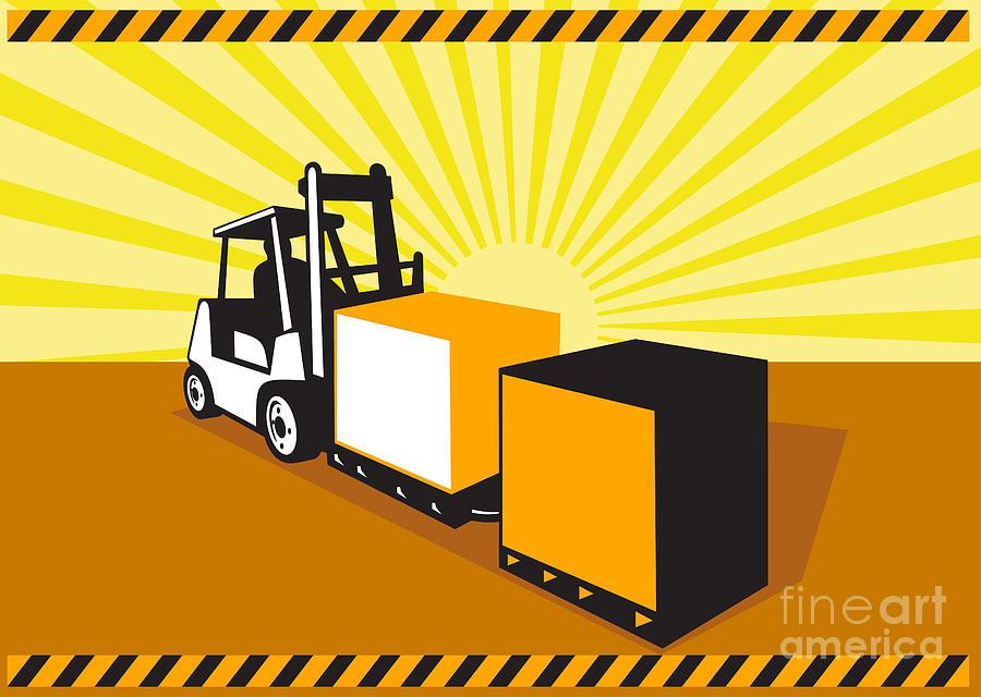 Forklift Digital Art - Forklift Truck Materials Handling Retro by Aloysius Patrimonio