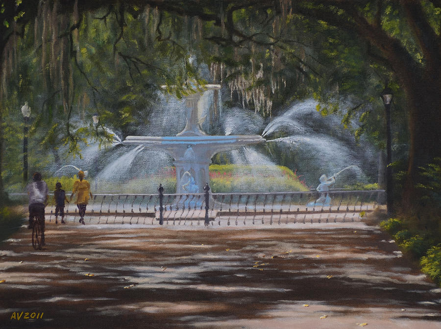 Forsyth Park Fountain Savannah Ga Painting By Alex Vishnevsky