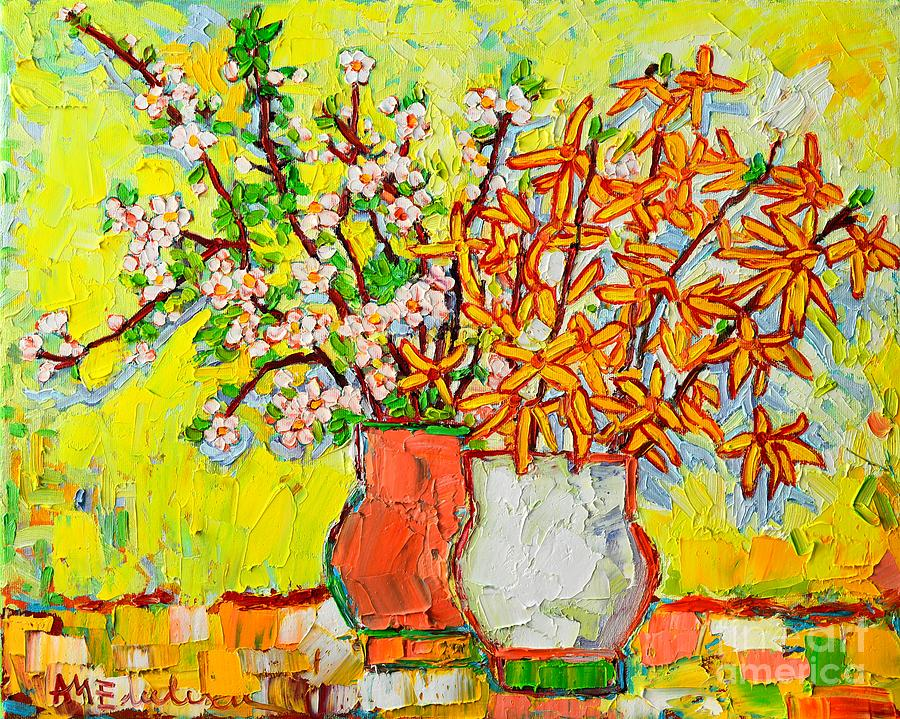 Spring Painting - Forsythia And Cherry Blossoms Spring Flowers by Ana Maria Edulescu