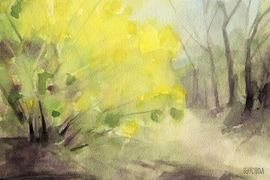 forsythia in central park watercolor landscape painting painting by