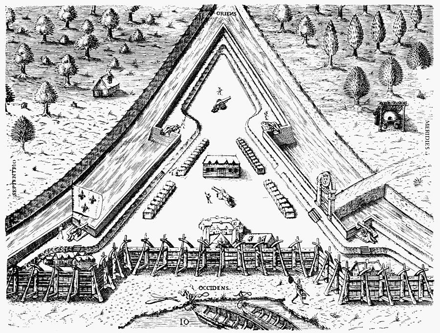 1564 Photograph - Fort Caroline, 1564 by Granger
