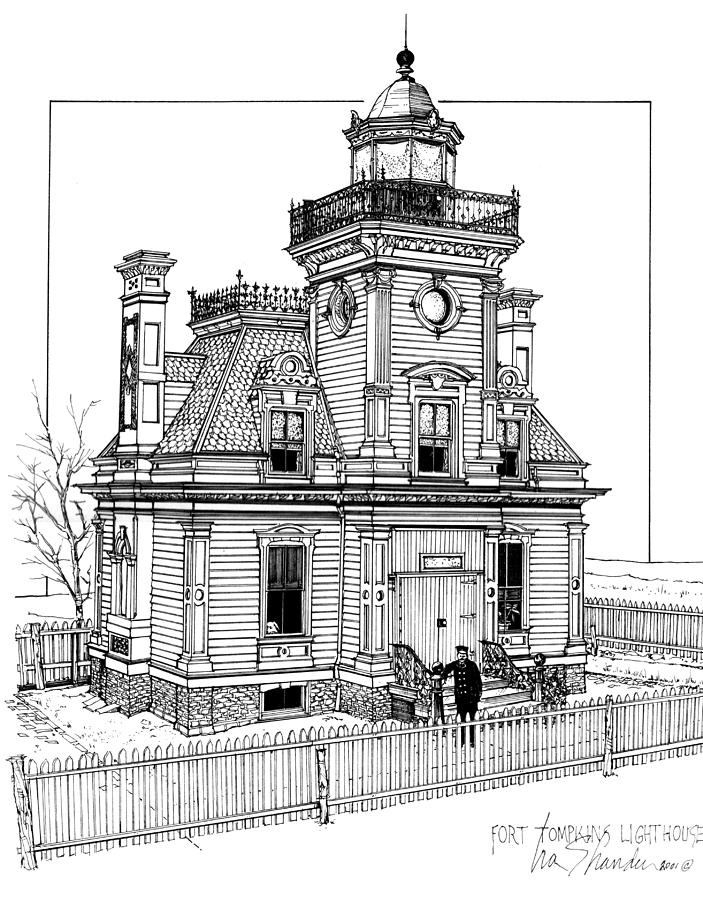 Red House Drawing: Fort Tompkins Lighthouse Drawing By Ira Shander