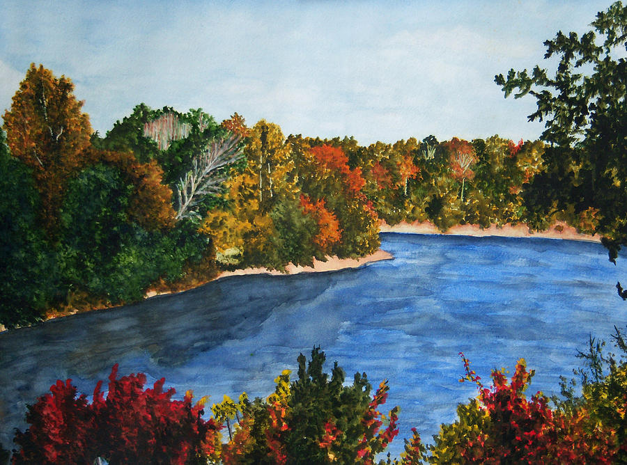 Watercolor Painting - Fort Toulouse Coosa River In Fall by Beth Parrish