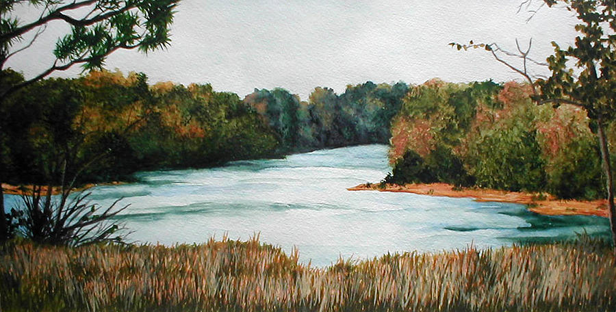 Watercolor Painting - Fort Toulouse Coosa Tallapoosa River by Beth Parrish