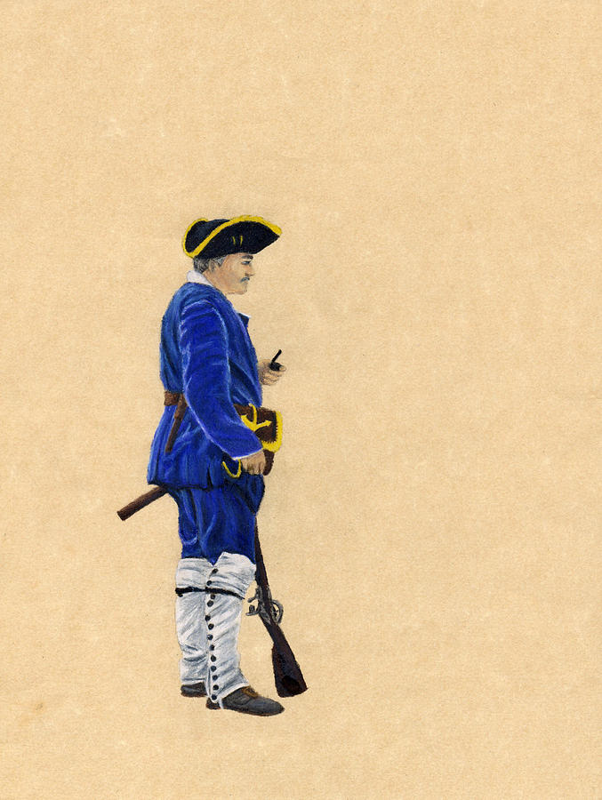 Marine Drawing - Fort Toulouse Soldier At Ease by Beth Parrish