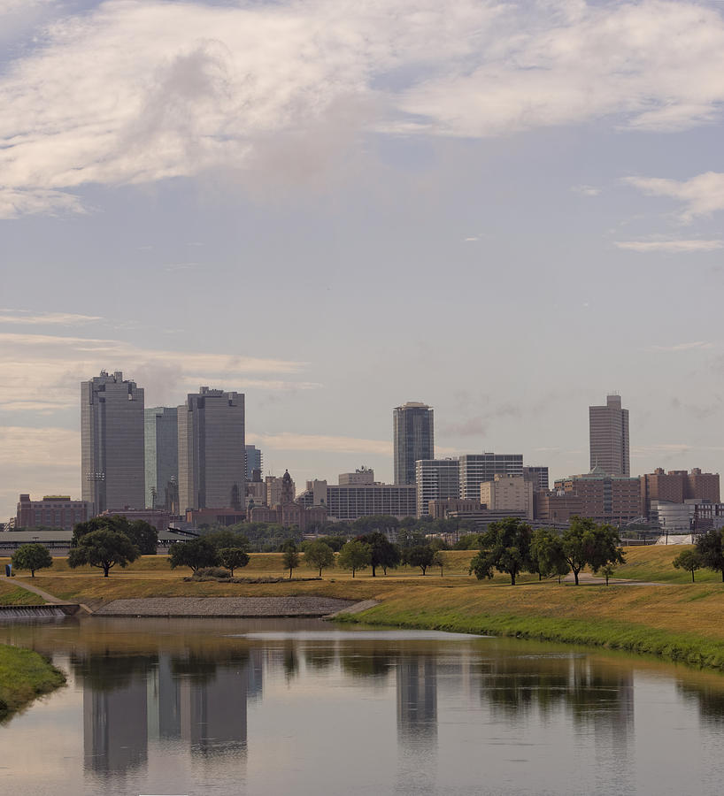 Fort Worth Skyline Partly Cloudy Photograph
