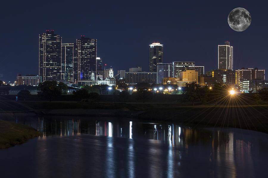 Fort Worth Skyline Photograph - Fort Worth Skyline Super Moon by Jonathan Davison