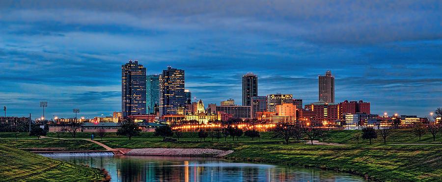 Fort Worth Sunset Skyline Panorama Photograph