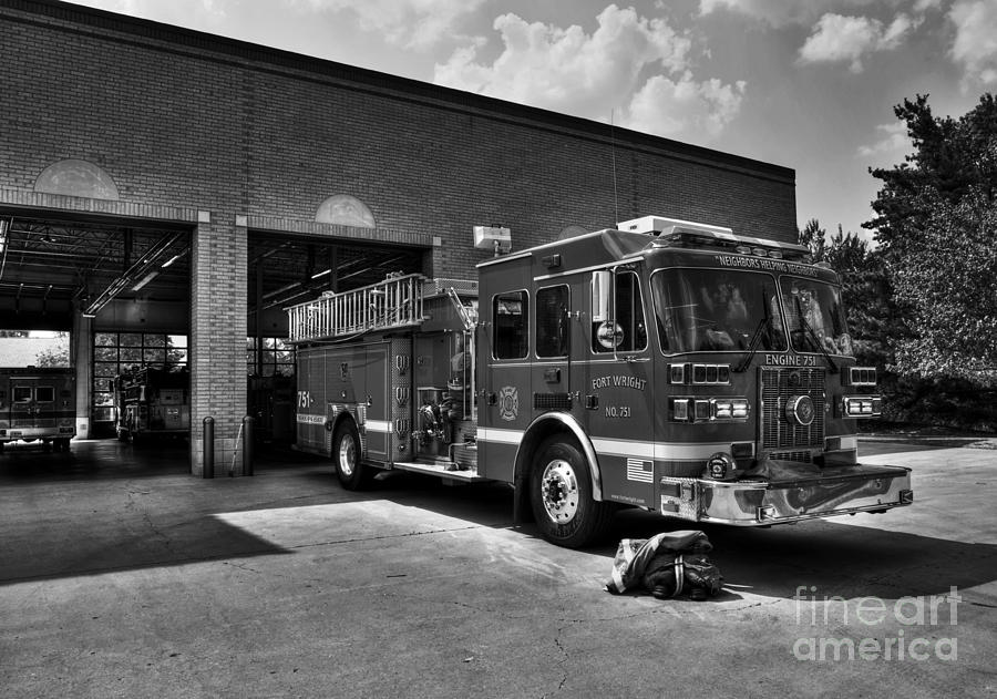 Fire Trucks Photograph - Fort Wright Fire Station Bw by Mel Steinhauer