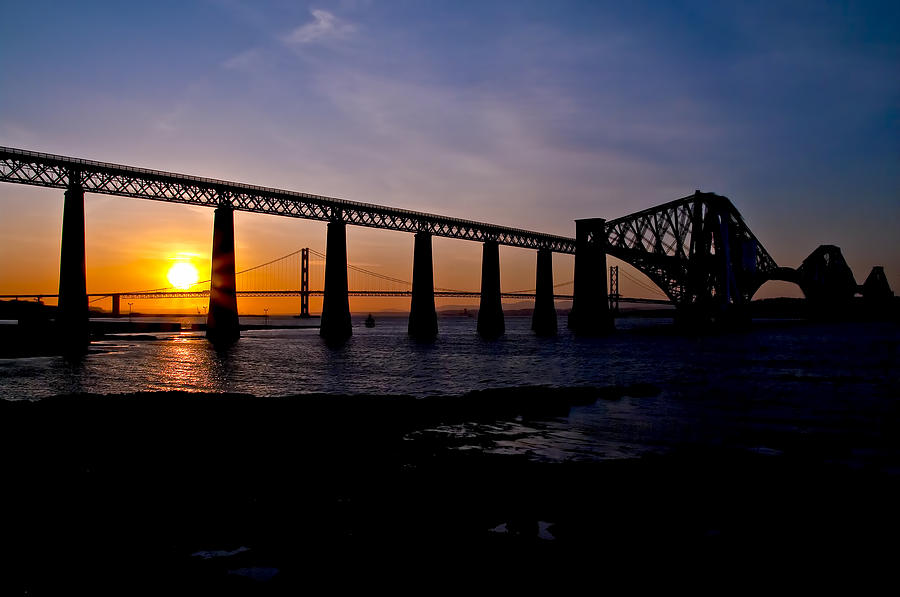 Forth Photograph - Forth Bridges Sunset by Ross G Strachan