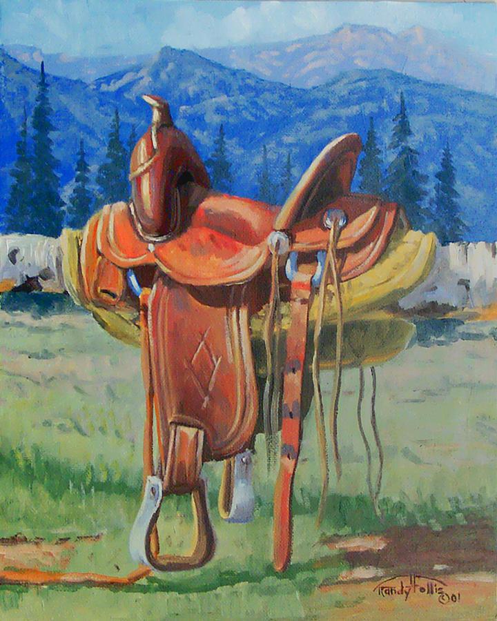 Saddle Painting - Forty Dollar Saddle by Randy Follis