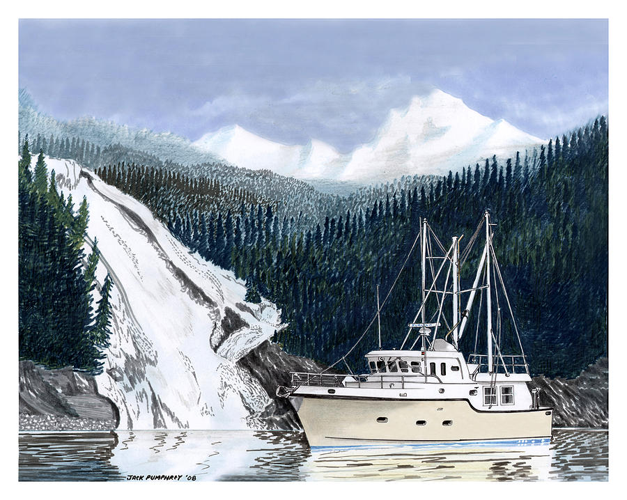 Forty Foot Nordhavn Northern Anchorage Painting by Jack Pumphrey
