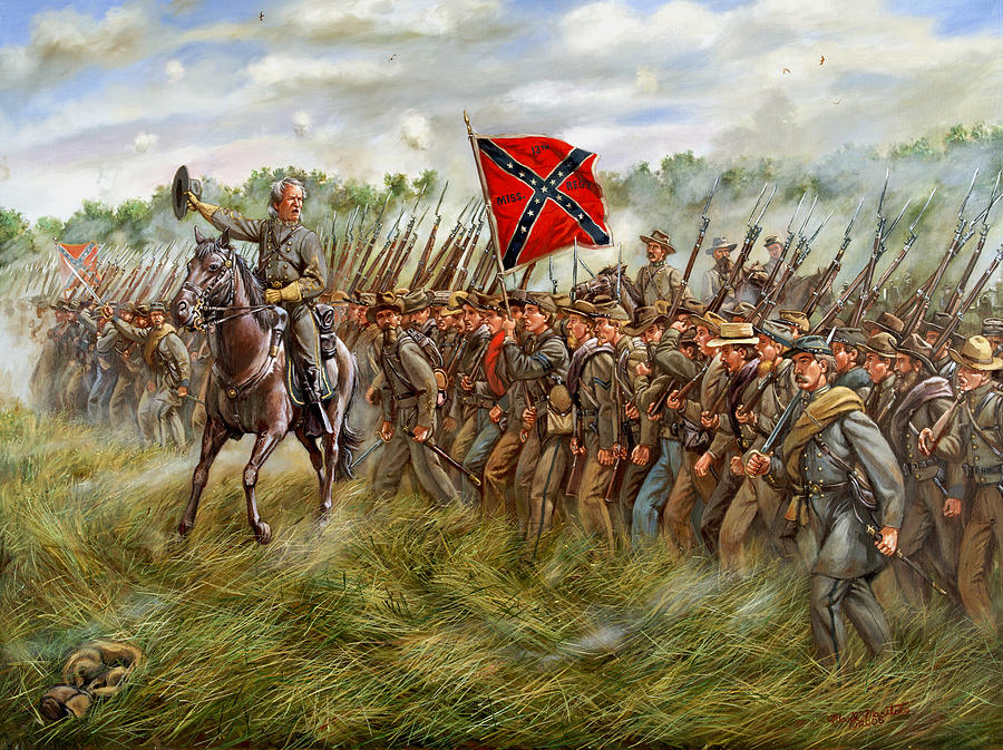 Forward To The Foe - The Charge Of General William Barksdales Mississippi Brigade At Gettysburg Painting