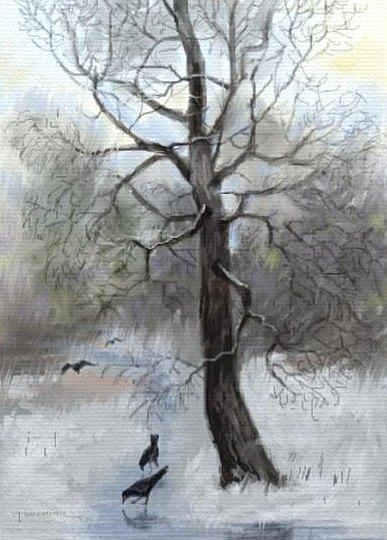 Landscape Painting - Forzen Rain by Tancau Emanuel