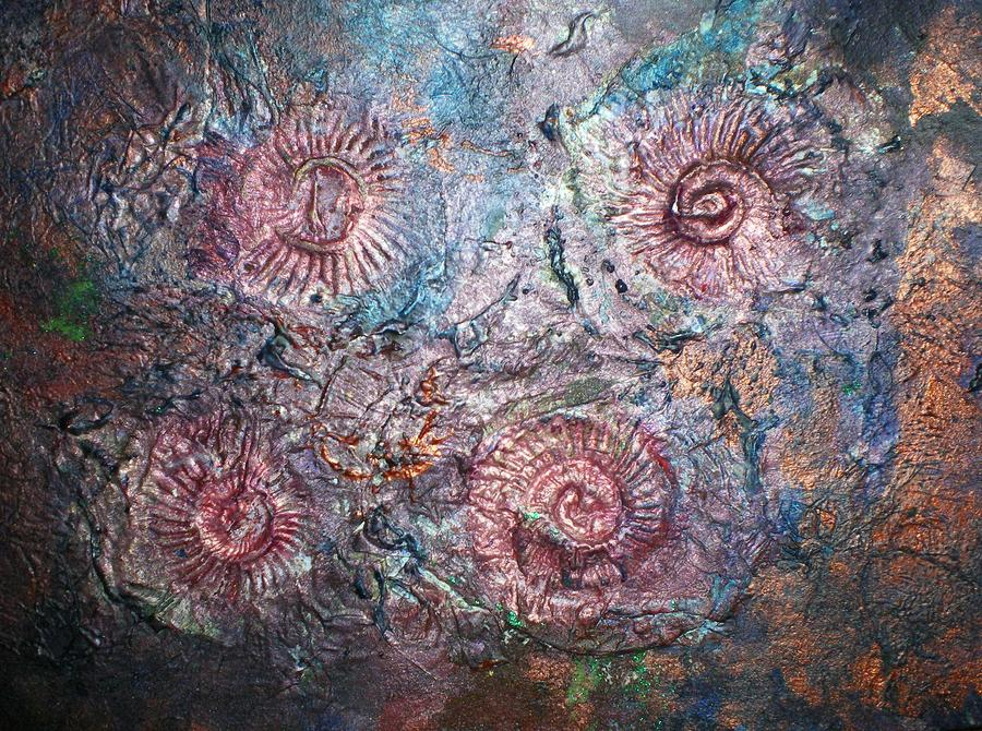 Abstract Painting - Fossils 1 by Carol Rowland