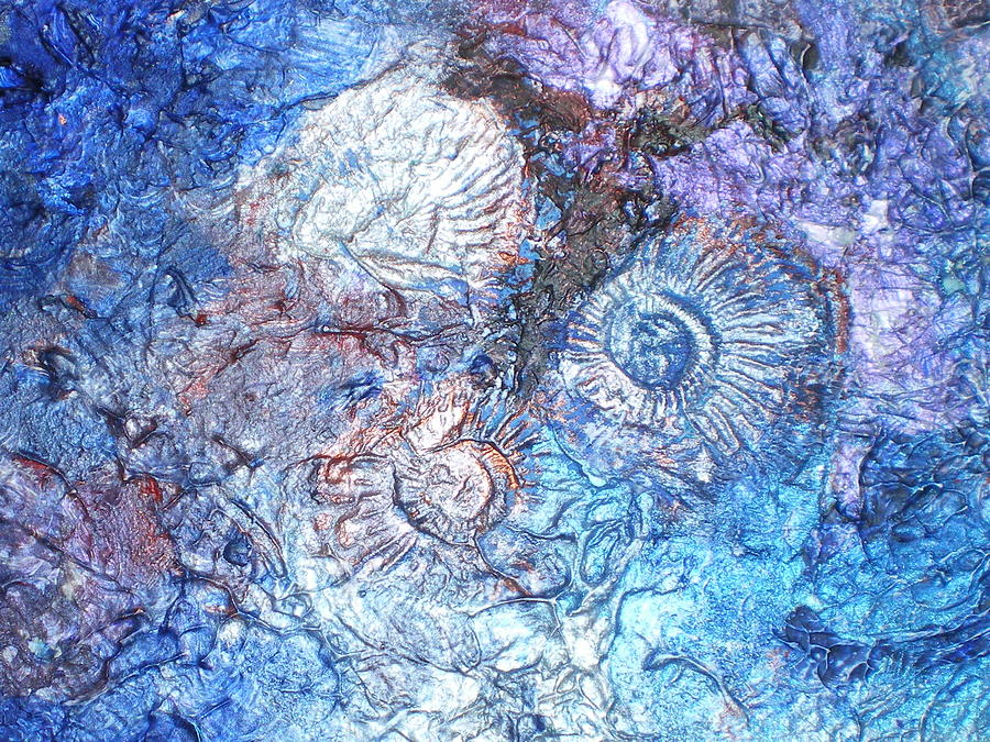 Blue Painting - Fossils 2 by Carol Rowland