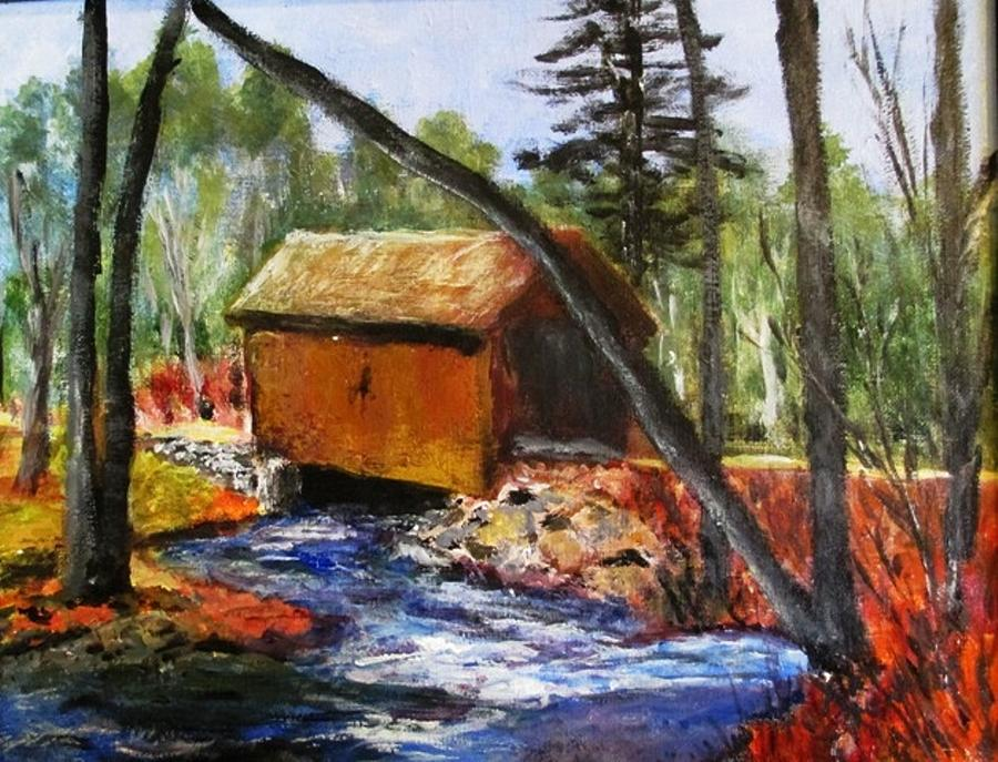 Covered Bridge Painting - Foster Covered Bridge  by Art  Stenberg