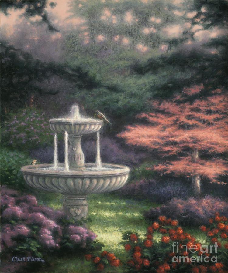 Fountain Painting - Fountain by Chuck Pinson