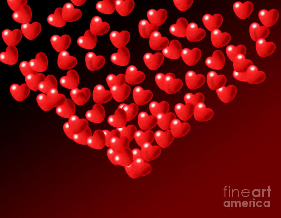 Wallpaper Digital Art - Fountain Of Love Hearts by Kiril Stanchev