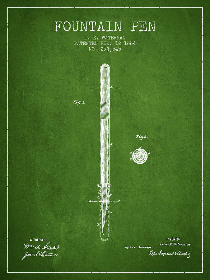 Pen Digital Art - Fountain Pen Patent From 1884 - Green by Aged Pixel