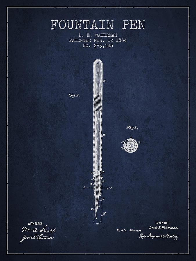 Pen Digital Art - Fountain Pen Patent From 1884 - Navy Blue by Aged Pixel