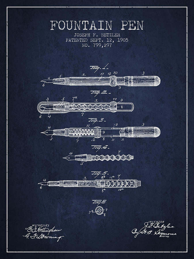 Pen Drawing - Fountain Pen Patent From 1905 - Navy Blue by Aged Pixel