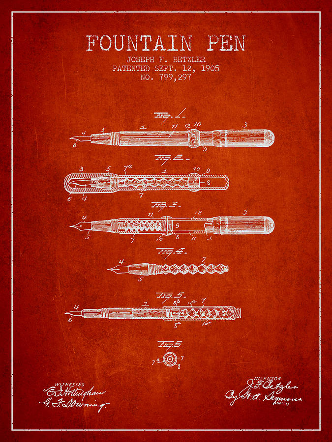 Pen Drawing - Fountain Pen Patent From 1905 - Red by Aged Pixel