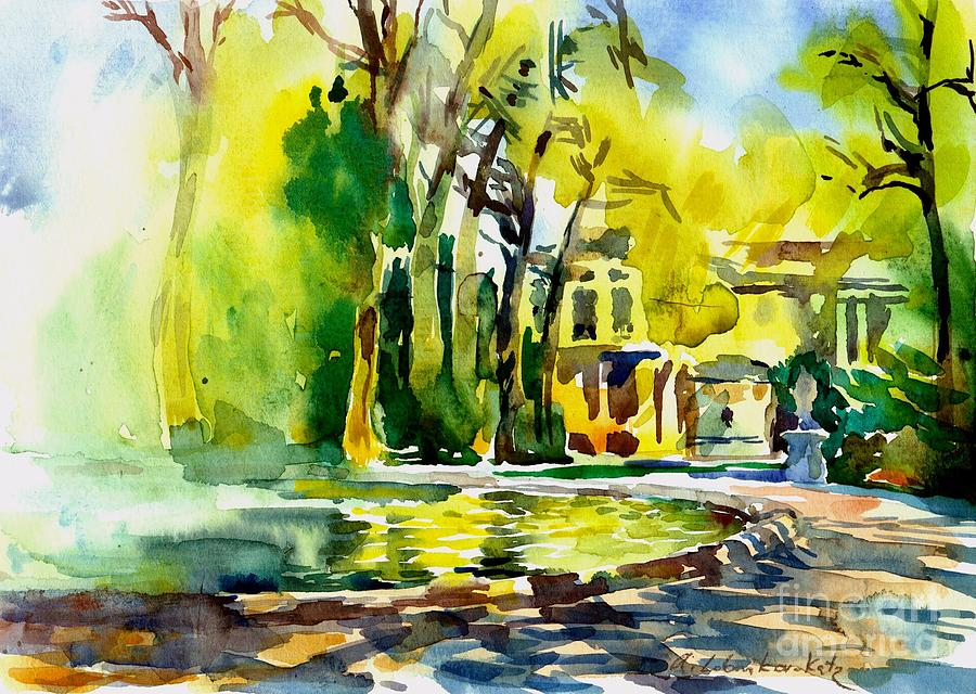 Watercolor Painting - Fountain Spray - Brussels In Spring by Anna Lobovikov-Katz