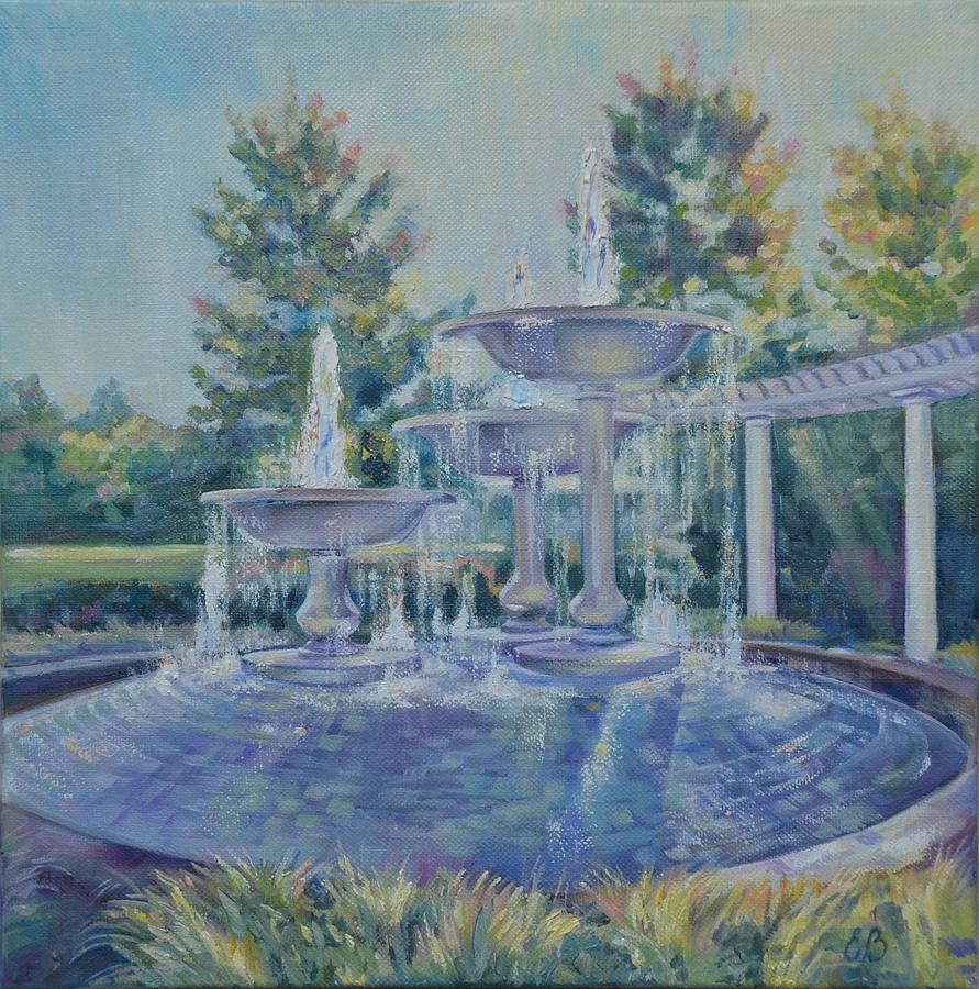 Landscape Painting - Fountains At Noon by Elena Broach