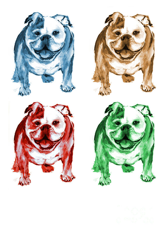 Bulldogs Painting - Four Bulldogs by Barbara Marcus