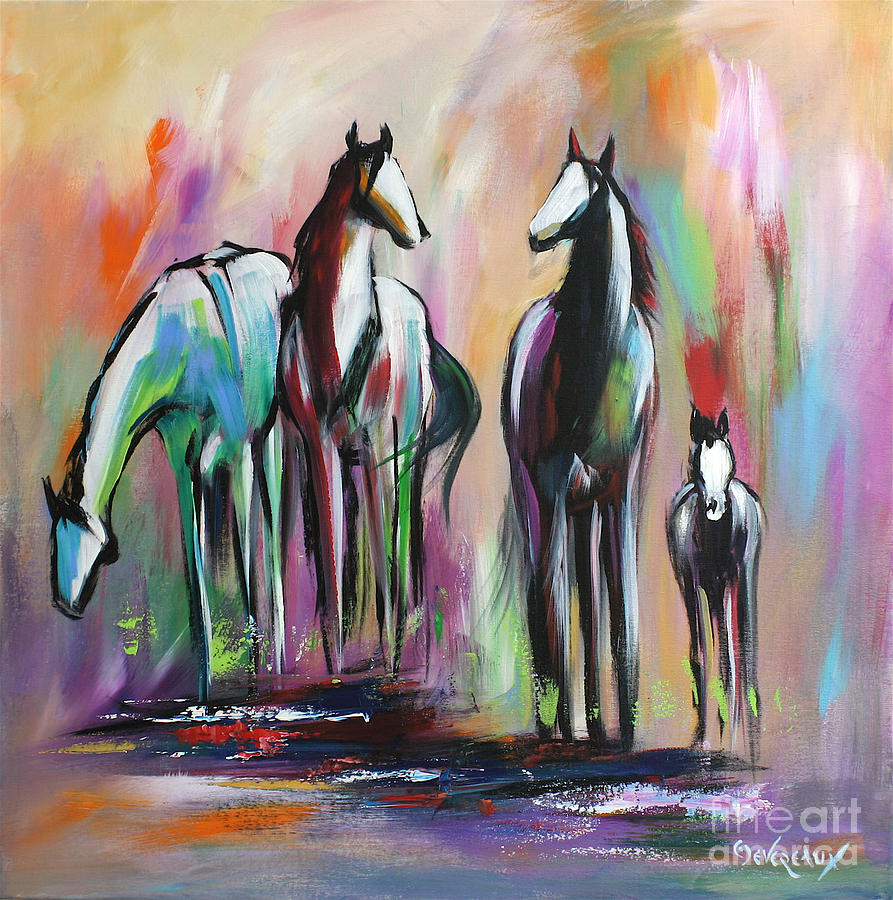 Horse Painting - Four by Cher Devereaux
