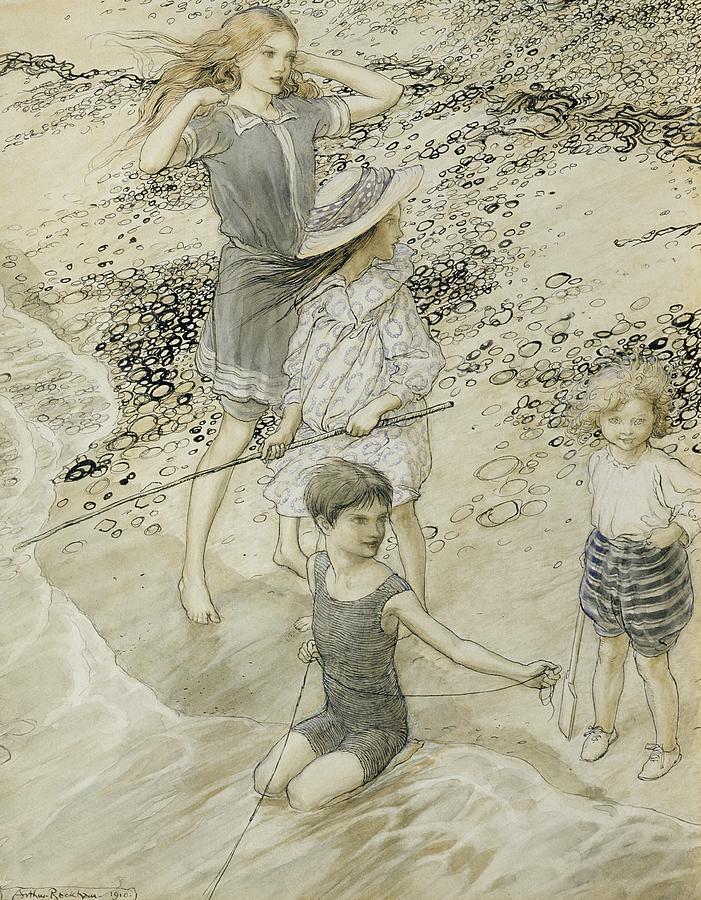 Swimming Drawing - Four Children At The Seashore by Arthur Rackham
