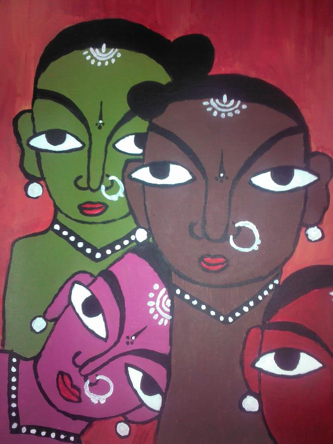 Painting - Four Colourul Girls by Neha  Shah