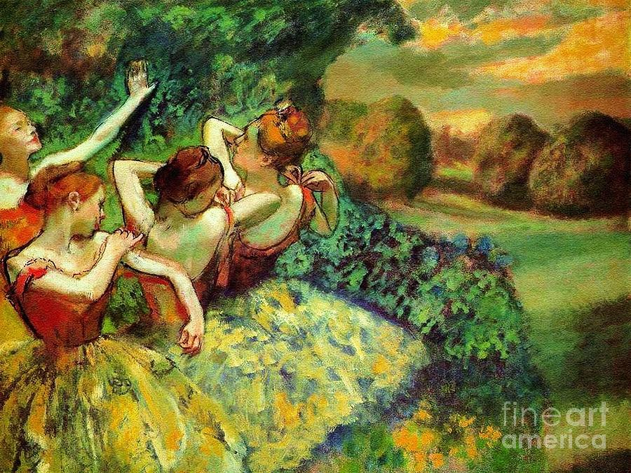 Pd Painting - Four Dancers by Pg Reproductions
