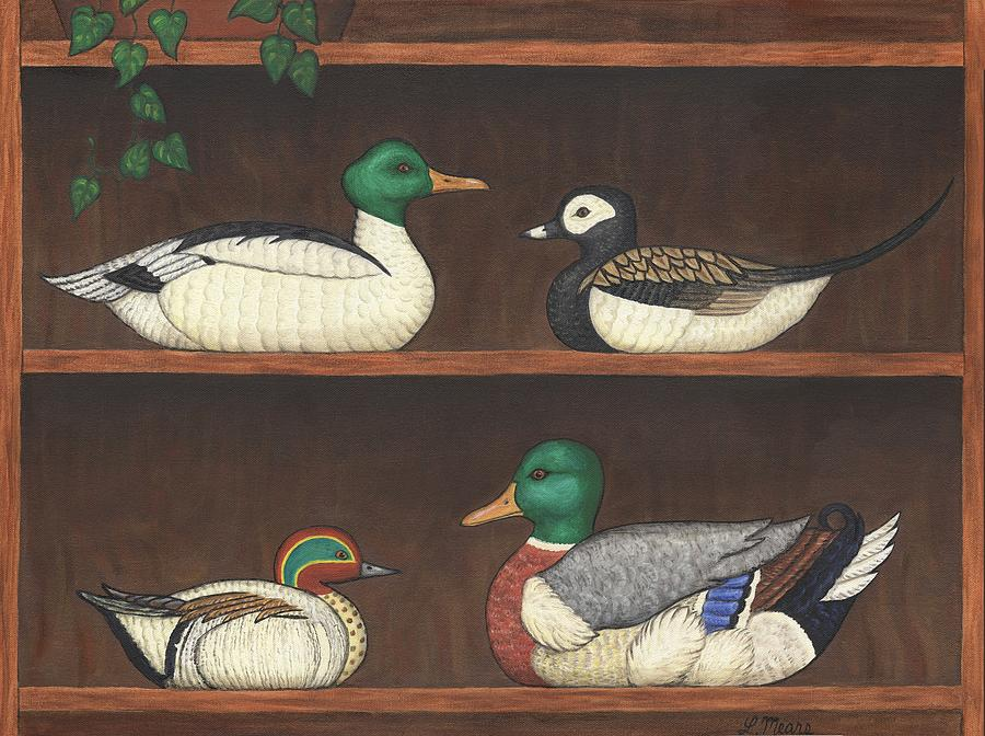 Duck Painting - Four Duck Decoys by Linda Mears