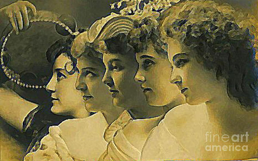 Actresses Painting - Four Edwardian Actresses In 1910 by Dwight Goss