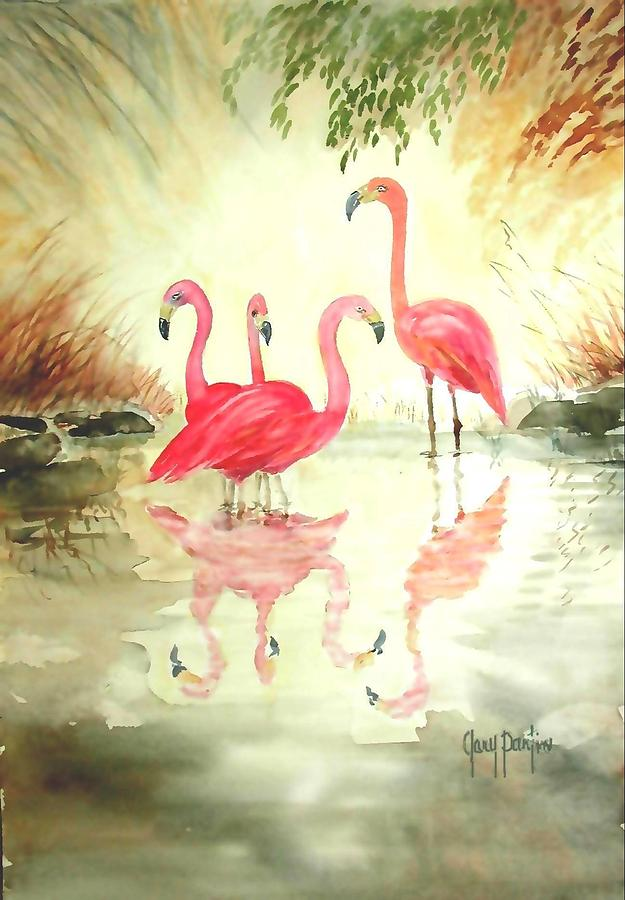 Four Flamingos by Gary Partin
