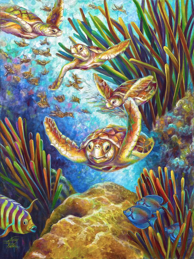 Loggerhead Painting - Four Loggerhead Turtles by Nancy Tilles