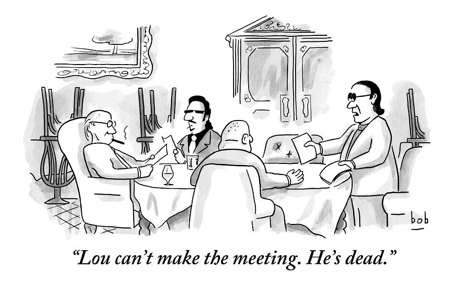 Four Men Sit At A Round Table Holding A Meeting Drawing by Bob Eckstein