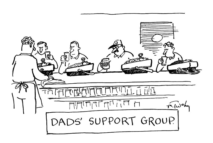 Four Men Sitting At A Bar Drawing by Mike Twohy
