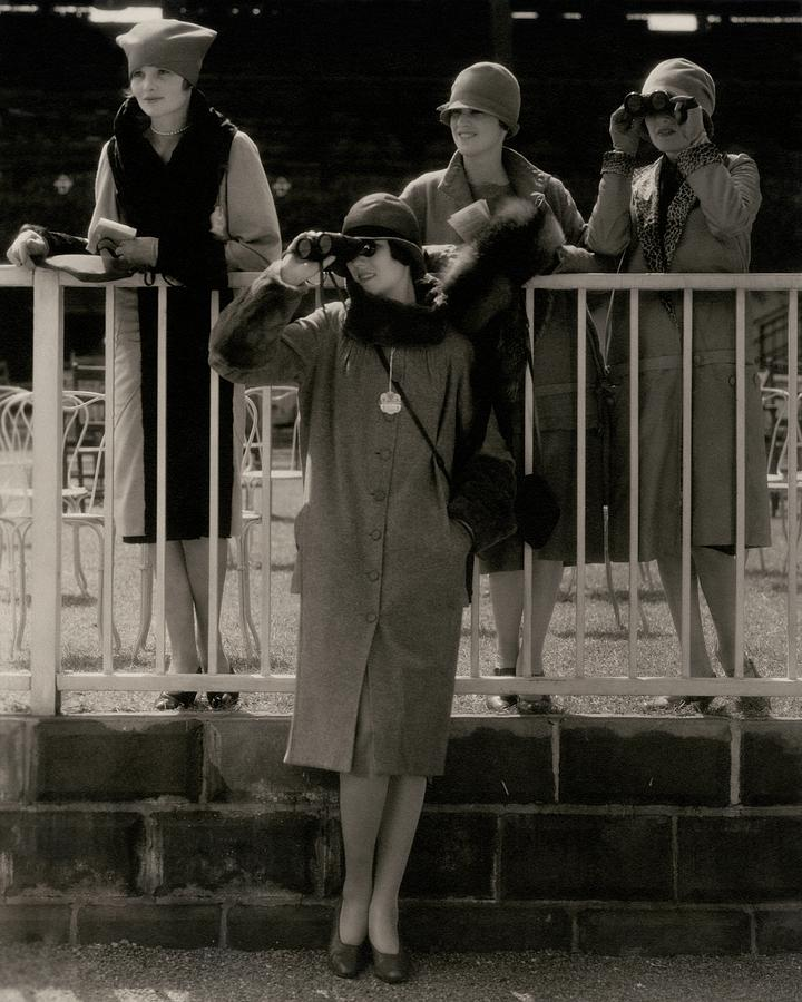 Four Models At The Belmont Race Track Photograph by Edward Steichen