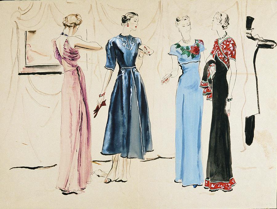 Four Models In Dresses By Alix Digital Art by Rene Bouet-Willaumez