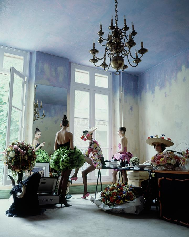Four Models Inside Christian Lacroixs Studio Photograph by Arthur Elgort