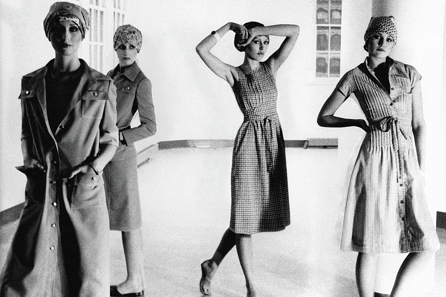 Four Models Standing In A Hallway Photograph by Deborah Turbeville