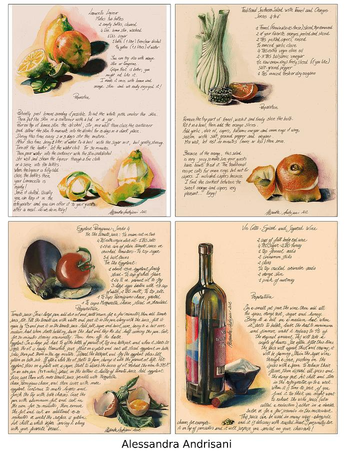 Food Painting - Four Painted Recipes by Alessandra Andrisani