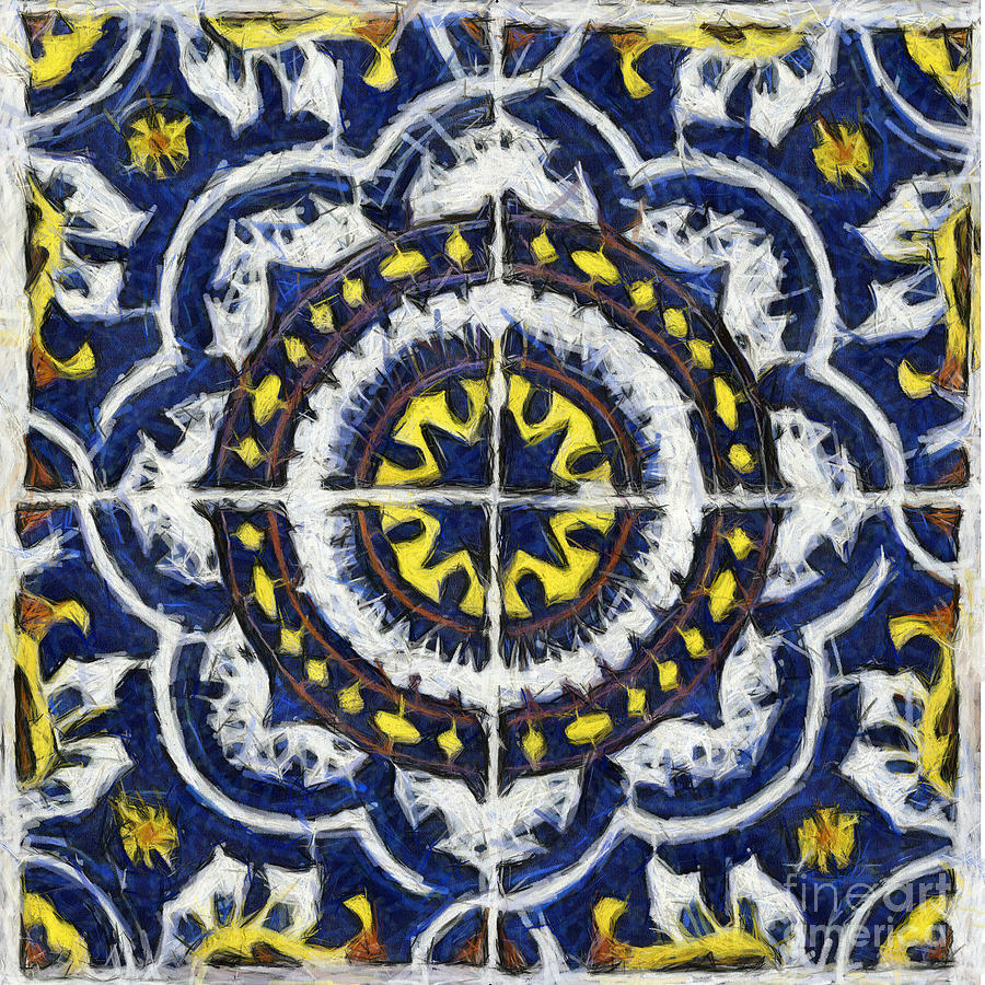 Four Painted Tiles-Mexico by Michael Flood