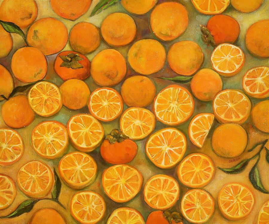 Orange Painting - Four Persimmons by Jen Norton