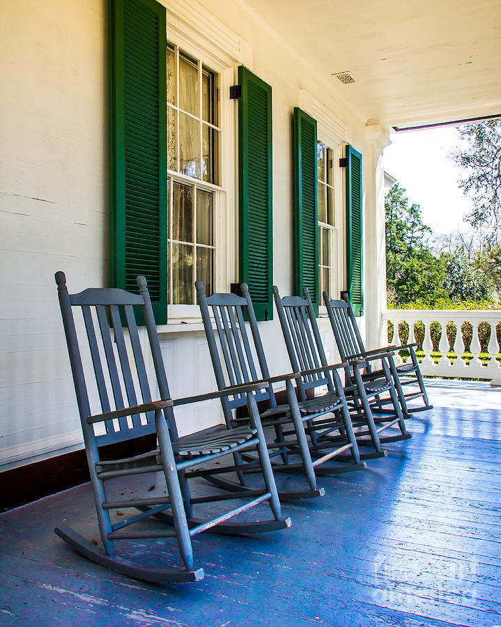 Porch Photograph - Four Porch Rockers by Perry Webster